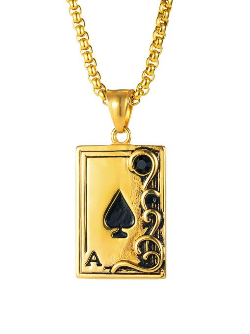 1940 [gold single pendant] Titanium Steel Enamel Geometric Vintage Necklace